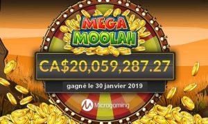 Un joueur Canadien décroche le jackpot progressif sur la machine à sous Mega Moolah d'un montant de 20 millions de dollars canadiens