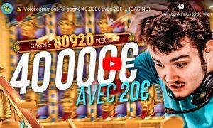 streamer bidule gagne jackpot de 40000 euros au casino en ligne sur la machine a sous Book of Dead